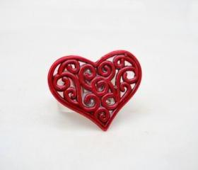 Red Heart Ring, Jewelry for her, Adjustable Ring, Under 20