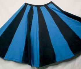 20 panel Black and Blue Upcycled T-shirt skirt Boho Festival M L XL XXL Knee Length Long