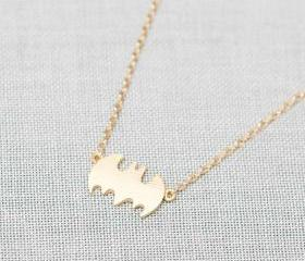 Tiny Batman Necklace in gold