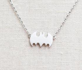 Tiny Batman Necklace in Silver