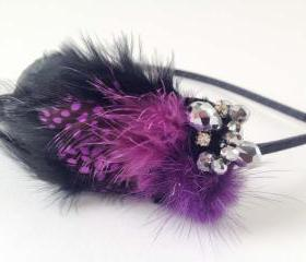 Purple Feather haedband