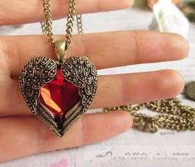 Vintage Red Rhinestone Wing Heart Necklace Coat Chain