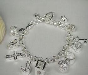 Lovely .925 Sterling Silver Heart & Ring Multi Charm Crystal Bracelet