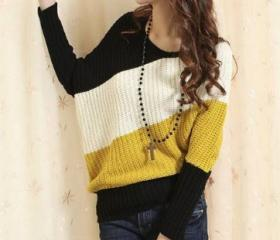 Yellow Stripe Ladies Knitting Sweater One Size VF0012y