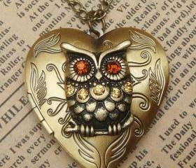Steampunk Gold Owl Heart Locket Necklace Vintage Style Original Design