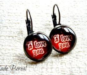 I love you, Antiqued Silver Gunmetal dangle earrings