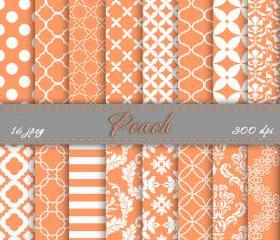 Digital paper peach scrapbooking papers for personal or commercial use digital art downloads
