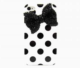 Bling Crystal Polka Dot White Black iphone 4 Case, iphone 4G Black Bow Case, iphone 4 Bow Case, iphone 4S Case Cover A1