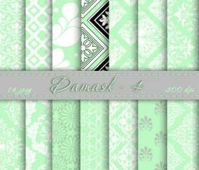 Mint Damask Digital Scrapbook Paper Digital Downloads Digital Paper Printable Scrapbooking Papers