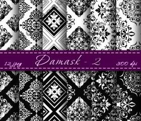 Damask Digital Paper pack Digital Scrapbooking Paper Digital Scrapbook Damask Black and White Digital Downloads