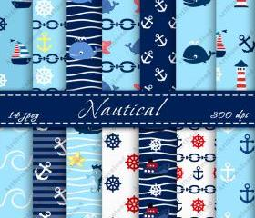 Nautical Digital Scrapbooking Papers Peper Pack Nautical Digital Downloads Scrapbook Paper Cardmaking