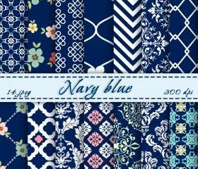 Navy Blue Digital Scrapbooking Paper Background Digital Downloads 