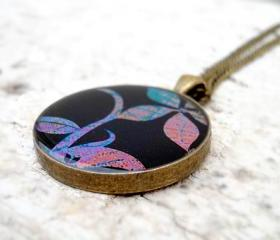 Cute Floral Necklace in dark blue purple green, Garden Pendant, trendy