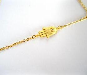 Sideways Hamsa 16k gold plated necklace, celebrity inspired, women and teens, Valentine's Day