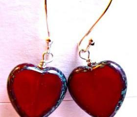Czech Picasso glass red hearts. Bali sterling silver. Heart earrings. Glass Beads Heart. Valentines day. Oxblood Red Picasso