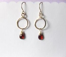 14k Gold Mozambique Red Garnet Earrings, January Birthstone Earrings, Birthstone Earrings, Bridesmaid Gift, Red Garnet Earrings