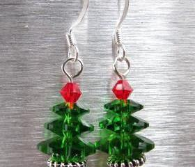 Swarovski Crystal Christmas Tree Earrings, Fern Green Earrings, Christmas Earrings