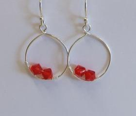 Sterling Silver Red Swarovski Crystal Hook Earrigs, Red Earrings, Silver Dangle Earrings, Bridesmaid Gift