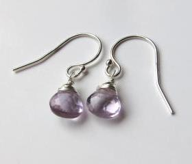 Sterling Silver Pink Amethyst Earrings, Purple Earrings, February Birthstone Earrings, Silver Gemstone Earrings, Birthday Gift