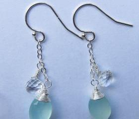 Sterling Silver Aqua Blue Chalcedony Earrings, Sterling Silver Crystal Quartz Earrings, Mother of the Bride & Groom Gift