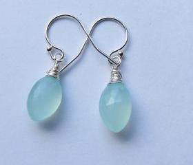 Sterling Silver Aqua Blue Chalcedony Earrings, Sterling Silver Dangle Earrings, Blue Earrings, Bridesmaid Gift