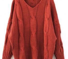 Red Loose Ladies Knitting Sweater One Size VF0015r