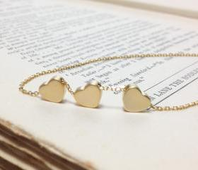 gold three Hearts Necklace