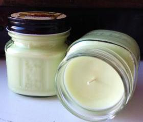 Fresh Cut Grass 8 Ounce Soy Blend Square Mason Jar candle