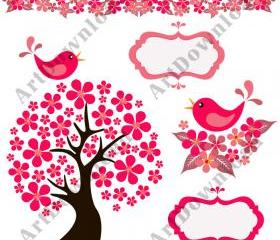 Tree with Birds Clip Art Birds Scrapbooking Digital Clip Art Commercial And Personal Use