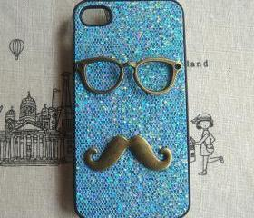 Steampunk Glasses Mustache Blue bling glitter hard case For Apple iPhone 4 case iPhone 4s case cover