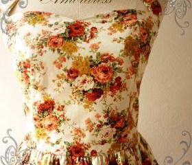 Flower Dress Amor Vintage Inspired Romantic Autumn Tangerine Rose Garden Dress Neck Tie Style - Once Upon A Time- Size S-