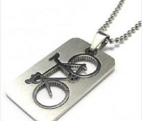 Men's Stainless Steel Bicycle Dog Tag Pendant Necklace