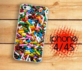 Iphone 4/4S Hard Case Candy Rainbow Sprinkles