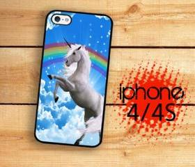 iPhone 4S, iPhone 4 Hard Kick Butt 80's Rainbow Unicorn Van Art