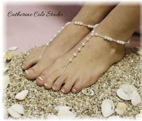 PEARL Bridal Barefoot sandals pearl beading great for beach wedding summer slave sandals foot jewelry resort wear Catherine Cole BF5