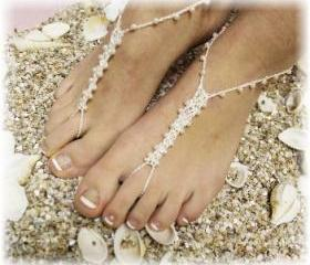 PEARL Barefoot sandals handmade pearl beading great for beach wedding summer slave sandals foot jewelry resort wear Catherine Cole