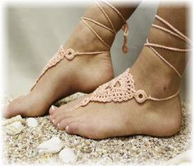Peach Barefoot sandals handmade 100% cotton great for beach wedding summer slave sandals foot jewelry resort wear Catherine Cole BF-3