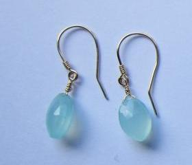 14K Gold Aqua Blue Chalcedony Earrings, Gold Dangle Earrings, Blue Earrings, Bridesmaid Gift