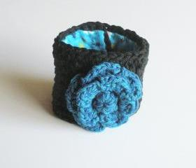 Black Cotton Crochet Cuff Bracelet with Blue Rose, ready to ship.