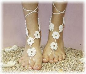 Barefoot sandals handmade 100% cotton great for beach wedding summer slave sandals foot jewelry resortwear Catherine Cole BF-1