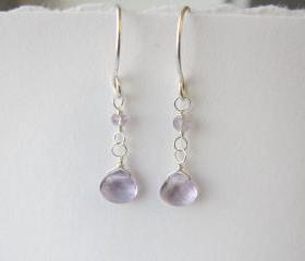 Sterling Silver Pink Amethyst Earrings, Purple Earrings, February Birthstone Earrings, Silver Gemstone Earrings, Bridesmaid Gift