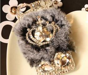 Warm Soft Fur Feather Crystal IPhone 4 Lace Flower Crystal Case Iphone 4s Case Iphone Hard Case Iphone Cover Bling Case Gem