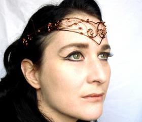 Copper and bronze circlet, steampunk, handmade