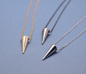Simple Single Solid Brass Spike Necklace in gunmetal