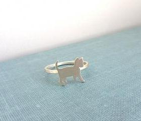 Sterling silver cat ring - Animal pet jewelry.