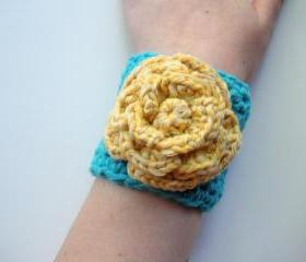 Crochet Cotton Cuff Bracelet in Turquoise with Yellow Rose, ready to ship.