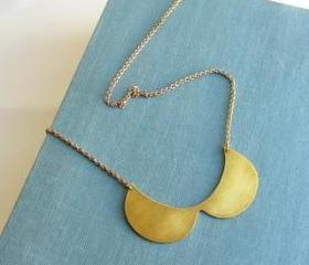 Statement gold brass fashion collar bib necklace, peter Pan necklace.