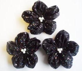 Black with Sequin Flowers Handmade Appliques Embellishments(3 pcs)