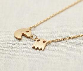PacMan Necklace in gold