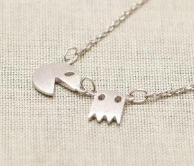 Pacman Necklace in Silver